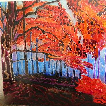 Картины и панно ручной работы. Ярмарка Мастеров - ручная работа Красный лес. Handmade.