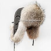 Мужская шапка ушанка из меха волка (Койот) модель Авиатор