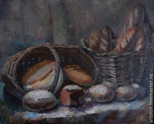Натюрморт ручной работы. Ярмарка Мастеров - ручная работа. Купить Натюрморт с хлебами. Handmade. Коричневый, натюрморт с хлебами, натюрморт, хлеб
