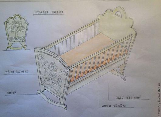 """Детская ручной работы. Ярмарка Мастеров - ручная работа. Купить Детская кроватка и комод """"Лукоморье"""". Handmade. Белый, детская комната"""