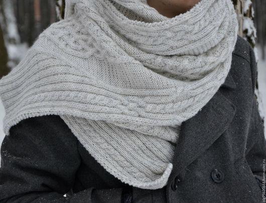 """Шарфы и шарфики ручной работы. Ярмарка Мастеров - ручная работа. Купить Теплый длинный вязаный шарф """"Снежный барс"""". Handmade."""