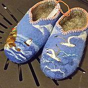 """Обувь ручной работы. Ярмарка Мастеров - ручная работа валяные тапочки """" У самого синего моря...или дорога домой"""". Handmade."""