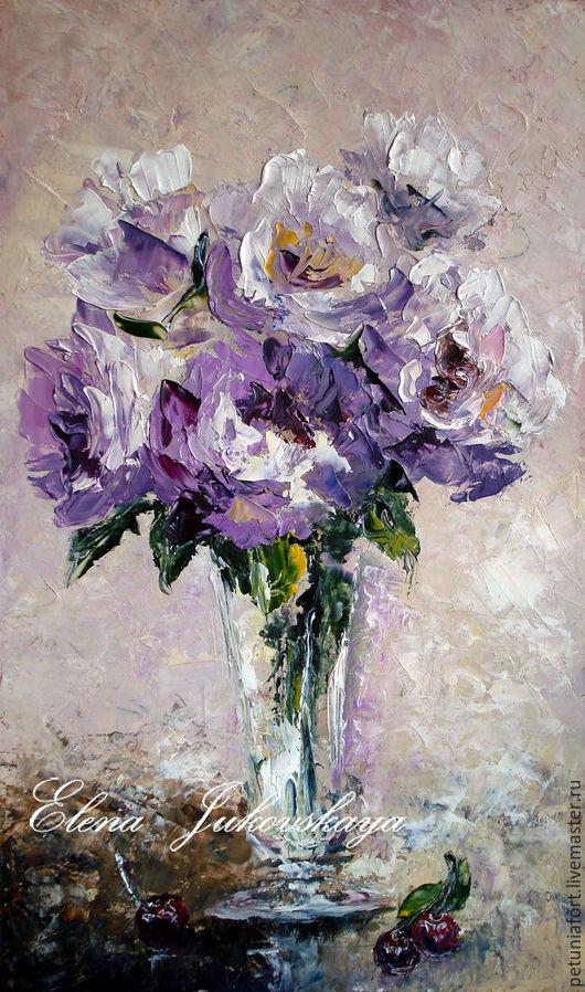 """Картины цветов ручной работы. Ярмарка Мастеров - ручная работа. Купить Картина маслом - """" Июньские розы"""" - цветы в вазе, мастихин. Handmade."""
