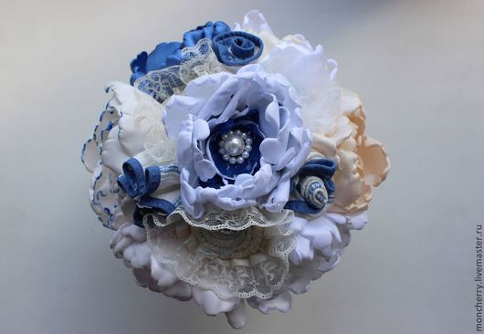 Свадебные цветы ручной работы. Ярмарка Мастеров - ручная работа. Купить Брошь букет в морском стиле, свадебный букет ручной работы. Handmade.