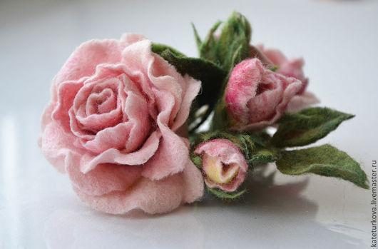 """Броши ручной работы. Ярмарка Мастеров - ручная работа. Купить Брошь """"Розовая прелесть"""". Handmade. Роза, нежность, романтика"""