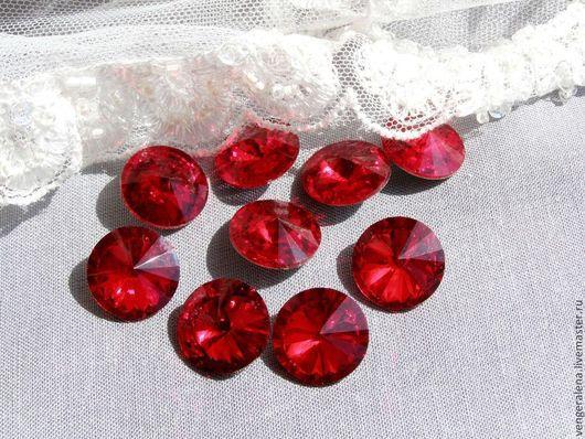 Для украшений ручной работы. Ярмарка Мастеров - ручная работа. Купить Кристаллы риволи стекло красный 16мм 14мм. Handmade.