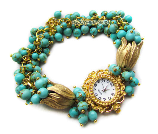 """Часы ручной работы. Ярмарка Мастеров - ручная работа. Купить """"Роскошь востока"""" наручные часы с бирюзой. Handmade. Часы, золотой"""