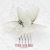 Свадебный салон handmade. Livemaster - original item Scallop with grayish-white butterfly, decorated with beads. Handmade.