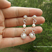 Украшения handmade. Livemaster - original item Earrings Tenderness white earrings with pearls pearl earring. Handmade.