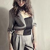 Одежда handmade. Livemaster - original item Grey stylish Sweater in wool, silk and knitwear. Handmade.