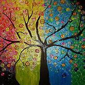 Картины и панно ручной работы. Ярмарка Мастеров - ручная работа Чудесное дерево  Картина акрилом на оргалите. Handmade.