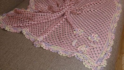 """Текстиль, ковры ручной работы. Ярмарка Мастеров - ручная работа. Купить Плед для новорожденного """"Розовый зефир"""". Handmade. Бледно-розовый"""