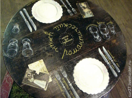 """Мебель ручной работы. Ярмарка Мастеров - ручная работа. Купить Стол """"Романтический ужин"""". Handmade. Черный, роспись мебели"""