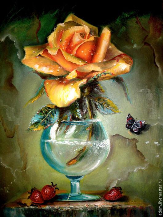 Картины цветов ручной работы. Ярмарка Мастеров - ручная работа. Купить Роза. Handmade. Комбинированный, масляные краски