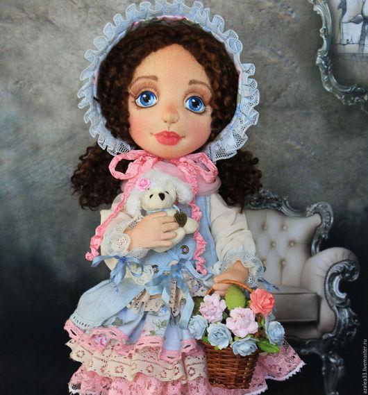 Коллекционные куклы ручной работы. Ярмарка Мастеров - ручная работа. Купить Настенька. Кукла интерьерная, текстильная.. Handmade. Голубой