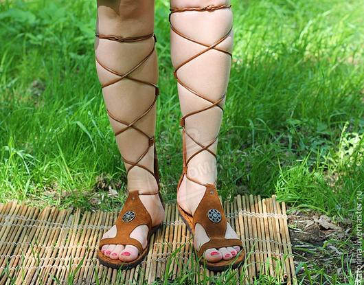 Обувь ручной работы. Ярмарка Мастеров - ручная работа. Купить 37-38 Гладиаторы сандалии из замши Без перепонки  с молнией Рыжие. Handmade.