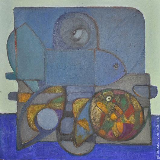 Натюрморт ручной работы. Ярмарка Мастеров - ручная работа. Купить ГЛАЗ. Handmade. Синий, масляные работы, абстракция, 4 мм