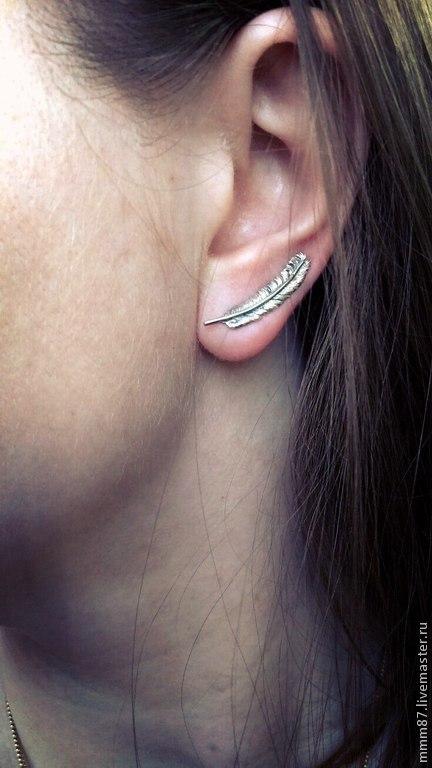 """Серьги ручной работы. Ярмарка Мастеров - ручная работа. Купить Серьги - пины  вдоль мочки уха из серебра """"Перышки"""". Handmade."""