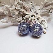 Украшения handmade. Livemaster - original item Glass Transparent beads Earrings With real Lavender Flowers. Handmade.