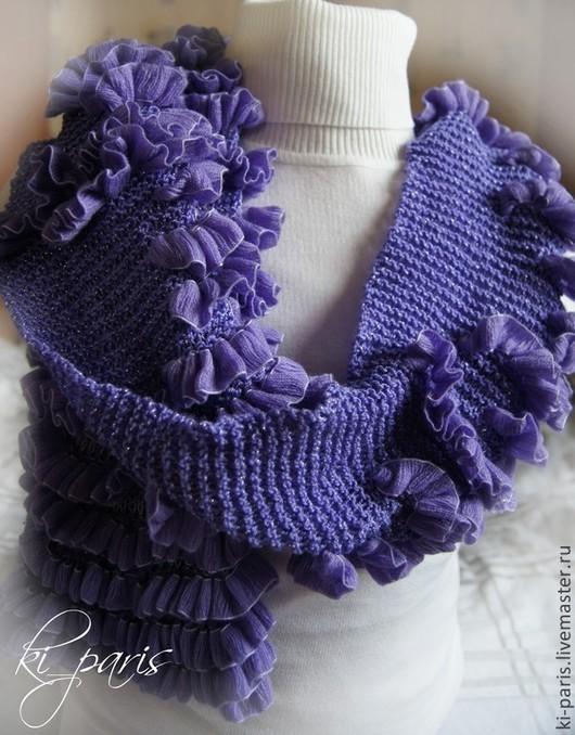 Вязаный шарф `Волна сирени`