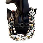 Украшения ручной работы. Ярмарка Мастеров - ручная работа Колье из натуральных камней с цветком- многорядные бусы Яшма. Handmade.