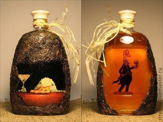 """Подарочное оформление бутылок ручной работы. Ярмарка Мастеров - ручная работа. Купить """"Пьяный гусь"""". Handmade. Оформление бутылок"""