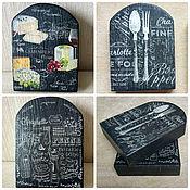Посуда ручной работы. Ярмарка Мастеров - ручная работа Сырная досочка из вяза Черная. Handmade.