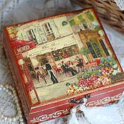 Box handmade. Livemaster - original item Jewelry box vintage French cafe terracotta. Handmade.