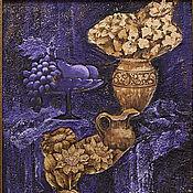 Картины и панно ручной работы. Ярмарка Мастеров - ручная работа Натюрморт в филетово-золотистых тонах. Handmade.