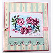 Открытки ручной работы. Ярмарка Мастеров - ручная работа Открытка с розовыми розами к дню рождения. Handmade.