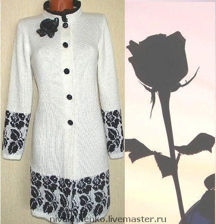 Верхняя одежда ручной работы. Ярмарка Мастеров - ручная работа. Купить Пальто вязаное Черная роза. Handmade. Вязание на машине