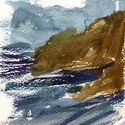 Картины ручной работы. Ярмарка Мастеров - ручная работа «Акварельная Португалия. Вид 7» Картина акварель море пейзаж. Handmade.