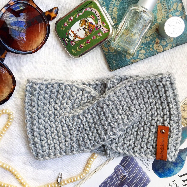 Вязаная повязка, серая повязка на голову, Повязки, Новороссийск,  Фото №1