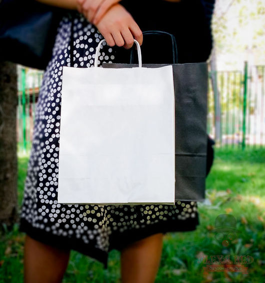 Упаковка ручной работы. Ярмарка Мастеров - ручная работа. Купить 31/25/11см круч.ручка пакет белый. Handmade. Крафт-пакет