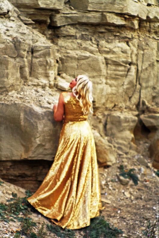 """Платья ручной работы. Ярмарка Мастеров - ручная работа. Купить Платье """"Золотой песок"""". Handmade. Золотой, золотистый, длинное платье"""