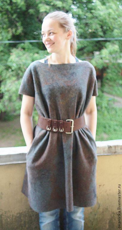 Платья ручной работы. Ярмарка Мастеров - ручная работа. Купить Валяное платье  Brown Square. Handmade. Коричневый, большой размер