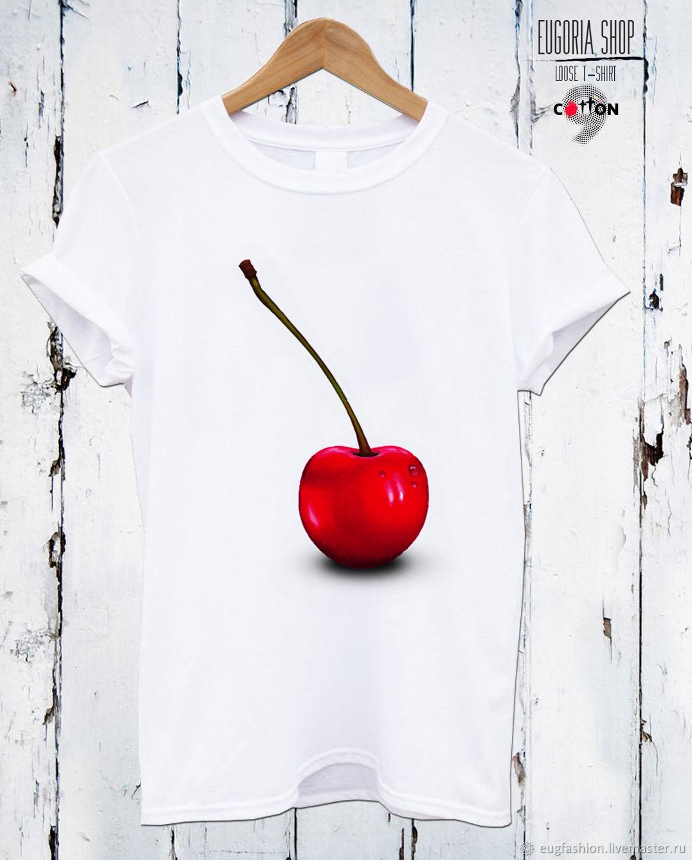 White cotton t-shirt with 'cherries' print - TEE10063CT, T-shirts, Sofia,  Фото №1