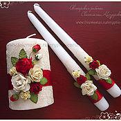 """Свадебный салон ручной работы. Ярмарка Мастеров - ручная работа Набор свечей """"Красные розы и кружево"""" разные цвета. Handmade."""