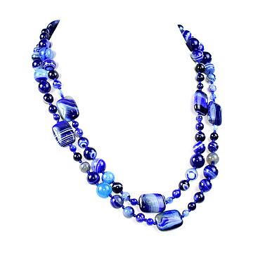 Decorations handmade. Livemaster - original item Blue long beads natural agate. Handmade.