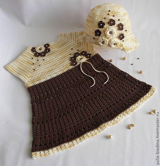 """Одежда для девочек, ручной работы. Ярмарка Мастеров - ручная работа. Купить Комплект для девочки """"Шоколадная конфетка"""". Handmade. Коричневый"""