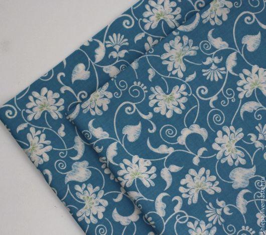 """Шитье ручной работы. Ярмарка Мастеров - ручная работа. Купить Ткань для пэчворка """"Цветочная"""". Handmade. Голубой, цветочные мотивы"""