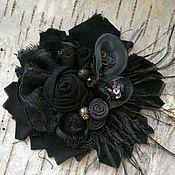 """Сумки и аксессуары handmade. Livemaster - original item Brooch textile """"Black pearl"""".. Handmade."""