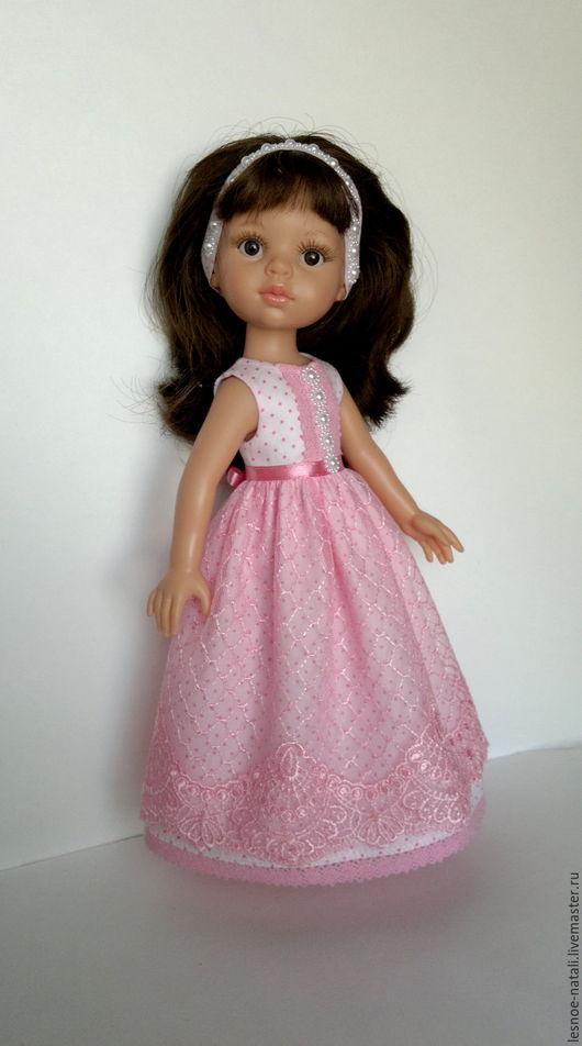 Одежда для кукол ручной работы. Ярмарка Мастеров - ручная работа. Купить Длинное платье с кружевом для Паолы. Handmade. Розовый