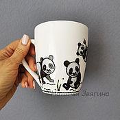 Посуда handmade. Livemaster - original item Panda Tea Mug. Hand painted. Gift. Handmade.