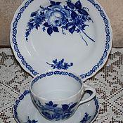 Винтаж handmade. Livemaster - original item Three porcelain. Cobalt. GDR.. Handmade.