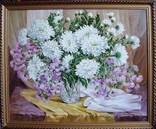 """Картины цветов ручной работы. Ярмарка Мастеров - ручная работа. Купить """"Хризантемы"""". Handmade. Цветы, хрусталь"""