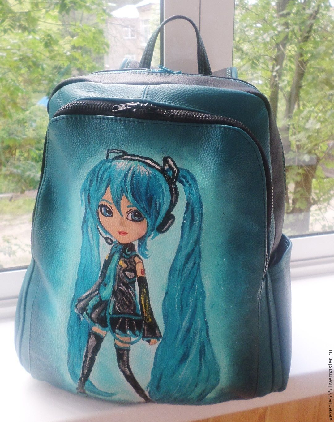 Backpack leather women's hand-painted to order for Maria, Classic Bag, Noginsk,  Фото №1