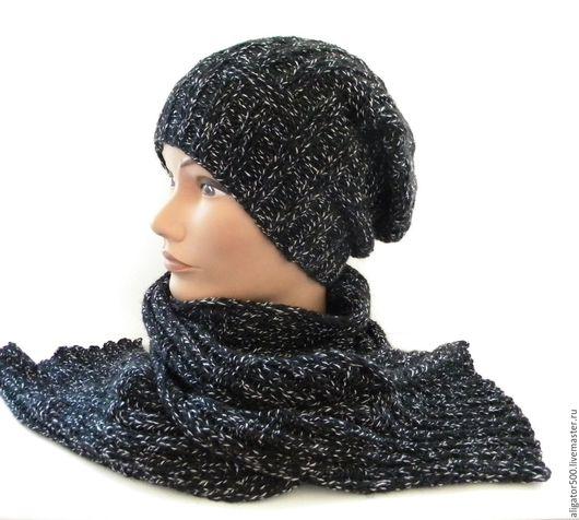 """Комплекты аксессуаров ручной работы. Ярмарка Мастеров - ручная работа. Купить Комплект мужская шапка """"БИНИ""""  и шарф. Handmade."""