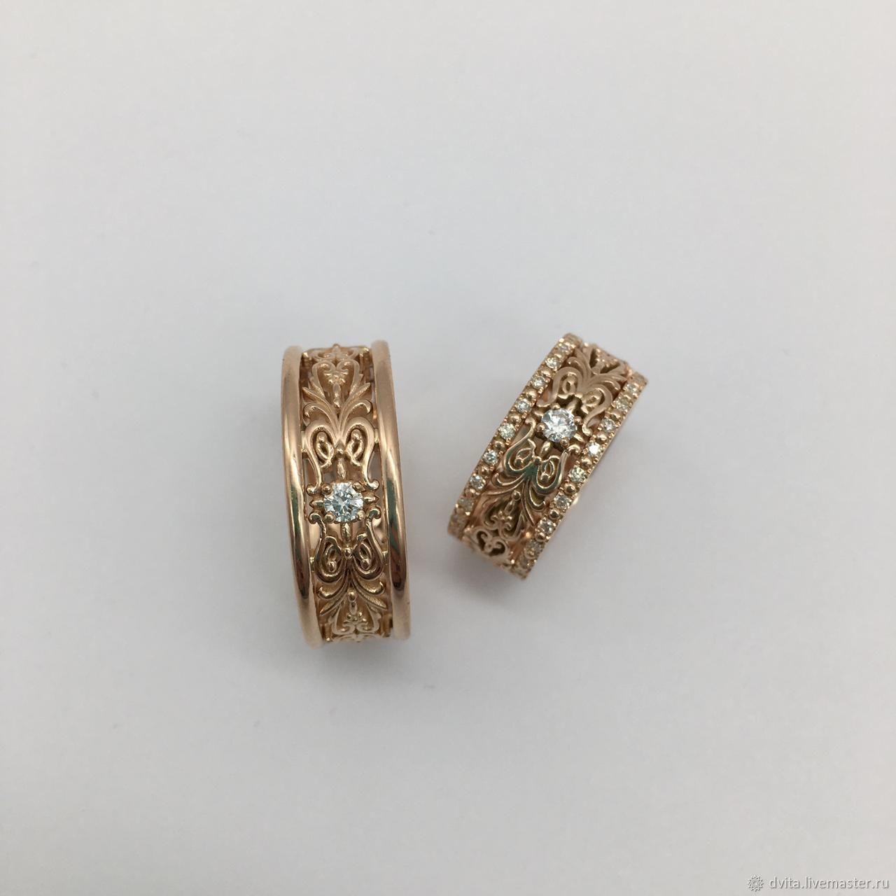 Обручальные кольца ажурные из золота с бриллиантами, Кольца, Санкт-Петербург,  Фото №1