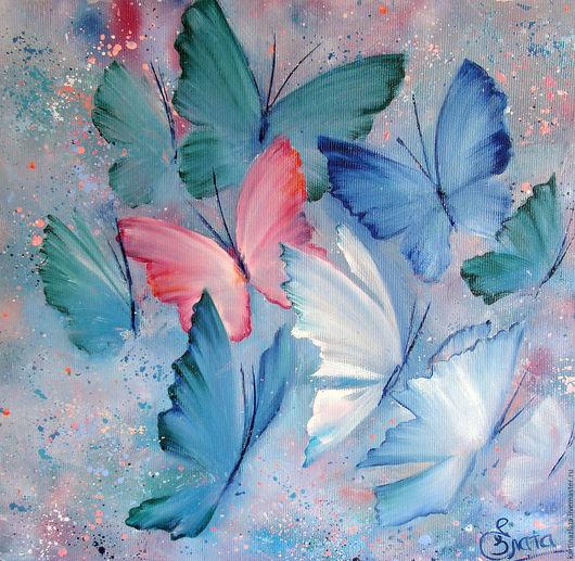 Бабочки. Всполохи уходящего лета. Картина ручной работы. Написана маслом.